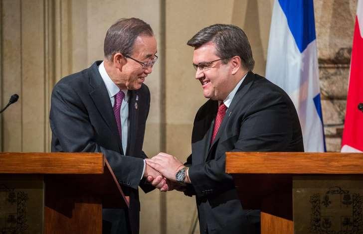 Ban Ki-moon et Denis Coderre le 12 février 2016 à Montréal. Photo La Presse Canadienne