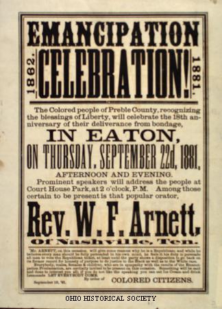 La proclamation d'Émancipation a été publiée par le Président Abraham Lincoln le 1er janvier 1863. C'est déclaré que « toutes les personnes tenues comme esclaves » dans les juridictions rebelles des états confédérés « sont, et dorénavant sera libre. »