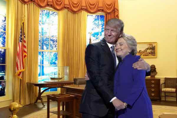 Le câlin entre Hillary Clinton et Obama copieusement parodié