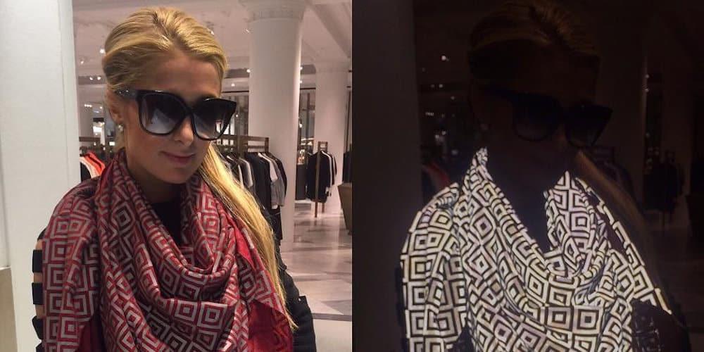 Paris Hilton portant l'écharpe magique