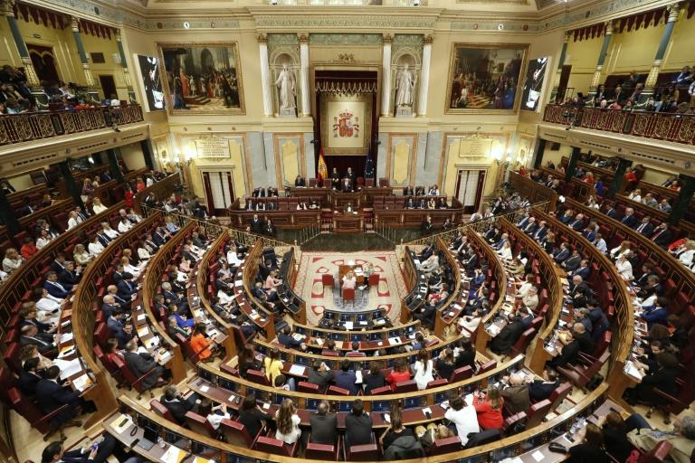 Vue générale de la session inaugurale du Parlement espagnol le 21 mai 2019 à Madrid