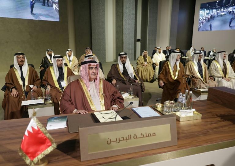 Le ministre bahreïni des Affaires étrangères, Khaled ben Ahmed Al-Khalifa, le 20 janvier 2019 lors d'un sommet économique à Beyrouth