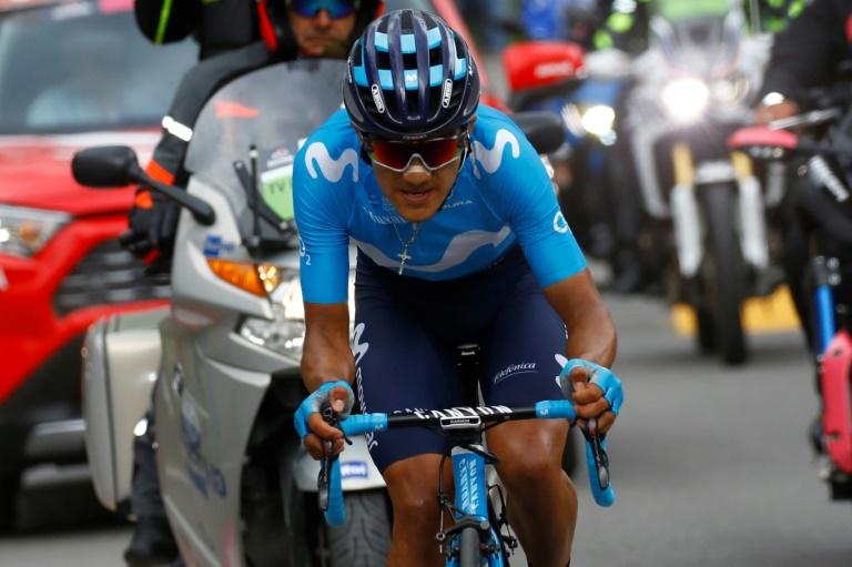 L'Equatorien Richard Carapaz (Movistar) lors de la 14e étape du Giro entre Saint-Vincent et Courmayeur, le 25 mai 2019
