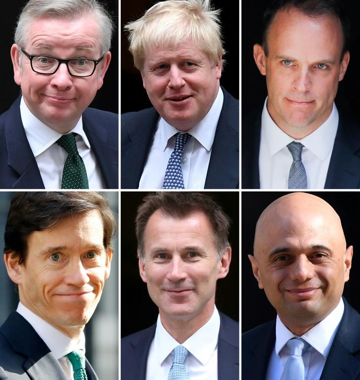 Les six candidats encore en lice dans la course à la succession de Theresa May. De gauche à droite et de haut en bas: Michael Gove, Boris Johnson, Dominic Raab, Rory Stewart, Jeremy Hunt et Sajid Javid