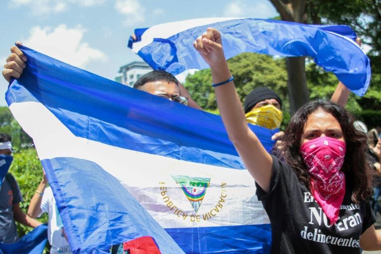 Manifestation pour la libération de prisonniers politiques, le 18 juin 2019 à Managua, au Nicaragua
