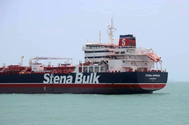 Une photo obtenue de l'agence de presse iranienne Tasnim le 20 juillet 2019, montrant le pétrolier battant pavillon britannique ancré au port de Bandar Abbas (sud de l'Iran) après sa saisie par l'Iran