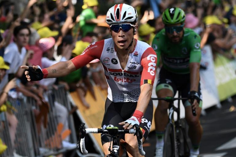 L'Australien Caleb Ewan (Lotto), vainqueur de la 11e étape du Tour de France, le 17 juillet 2019 à Toulouse