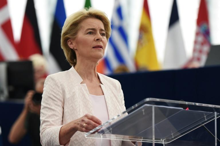 L'Allemande Ursula von der Leyen, candidate à la présidence de la Commission européenne, s'adresse au Parlement européen, le 16 juillet 2019 à Strasbourg dans l'est de la France