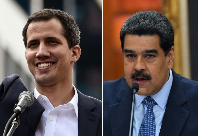 Le chef de file de l'opposition au Venezuela Juan Guaido (G) à Caracas le 23 janvier 2019; et le président vénézuélien Nicolas Maduro (D) à Caracas, le 9 janvier 2019