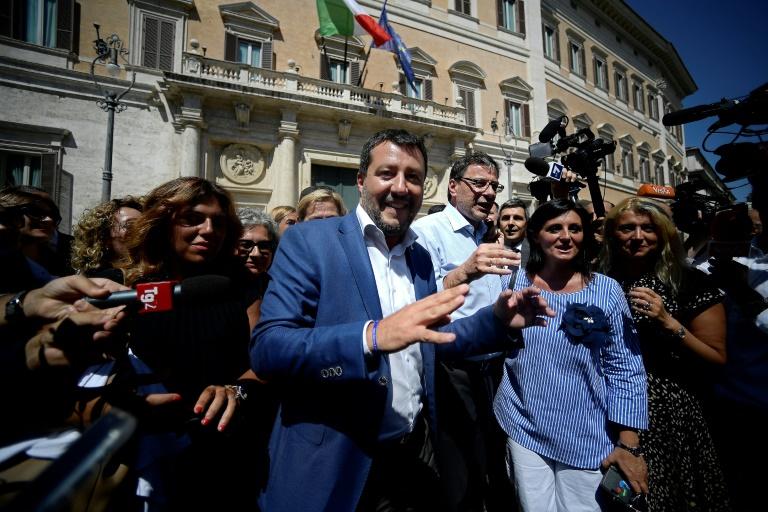Matteo Salvini arrive pour une réunion au Parlement, le 21 août 2019 à Rome