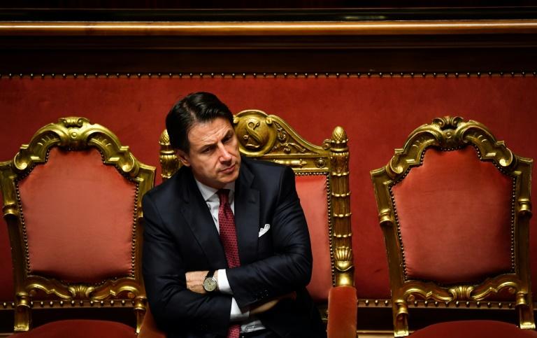 Le Premier ministre italien Giuseppe Conte au Sénat, le 20 août 2019 à Rome