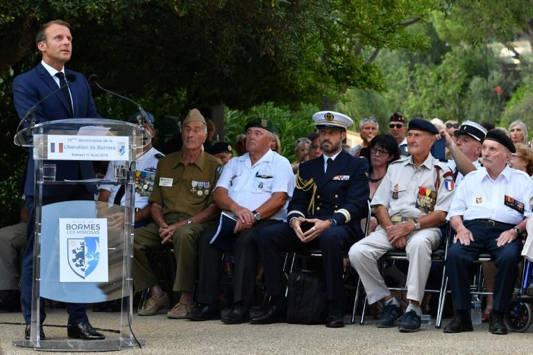 Cérémonie à l'occasion du 75e anniversaire de la libération de Bormes-les-Mimosas, en présence d'Emmanuel Macron, le 17 août 2019