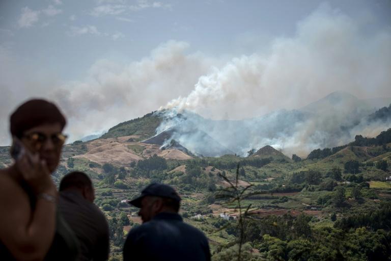 Des colonnes de fumée s'élèvent dans les environs de Lomo del Pino, dans l'île espagnole de Grande Canarie, le 18 août 2019