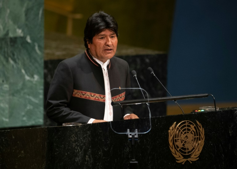 Le président bolivien de gauche Evo Morales au Nations Unies à New York le 24 septembre 2019