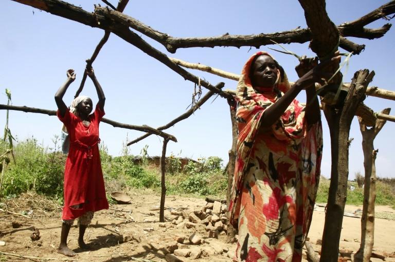 Des femmes soudanaises construisent une hutte en bois le 10 octobre 2019 dans leur village de Shattaya, au Darfour, dans l'ouest du Soudan