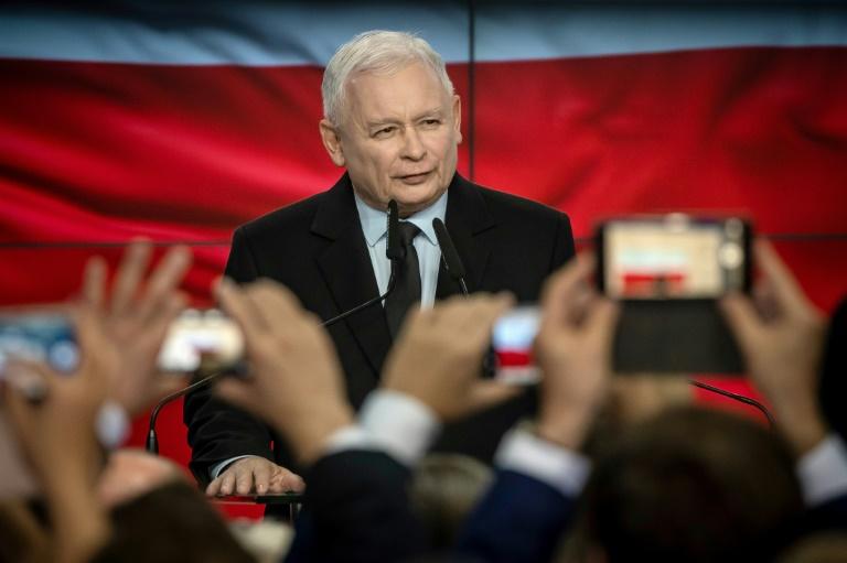 Le chef de file du parti Droit et Justice (PiS) de Jaroslaw Kaczynski, le 13 octobre 2019 à Varsovie