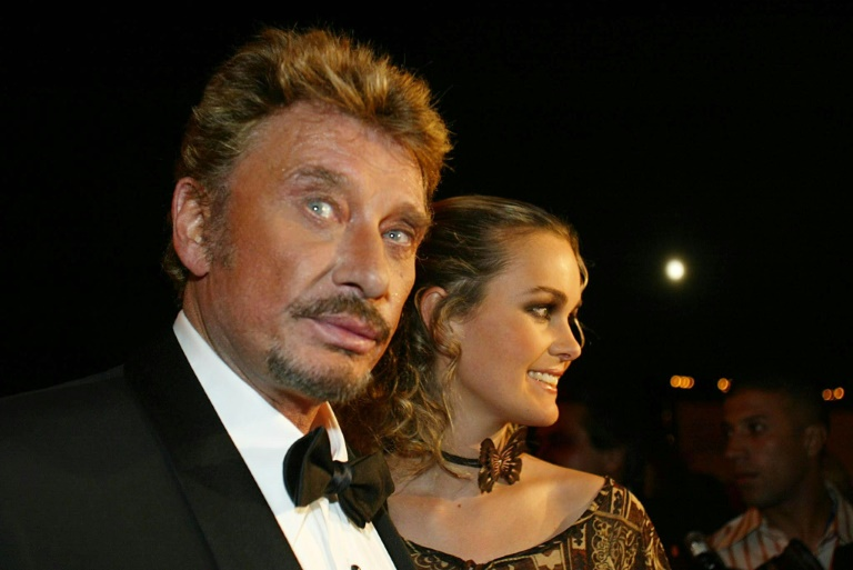 Johnny Hallyday et son épouse Laeticia, le 19 septembre 2002 à Marrakech (Maroc)