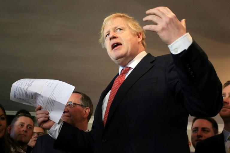 Le Premier ministre britannique Boris Johnson en déplacement le 14 décembre 2019 à Sedgefield, ancien bastion travailliste conquis par les conservateurs aux dernières législatives