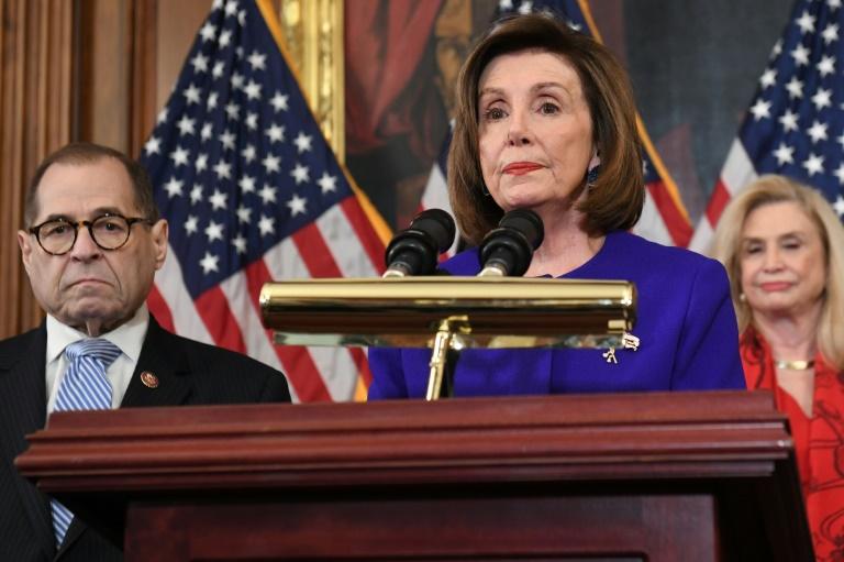La présidente démocrate de la Chambre des représentants, Nancy Pelosi, lors de l'annonce des chefs d'accusation retenus contre Donald Trump, visé par une procédure de destitution, le 10 décembre 2019