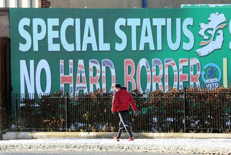 Un panneau érigé à Belfast par le Sinn Fein pour demander un statut spécial pour l'Irlande du Nord et s'opposer au rétablissement d'une