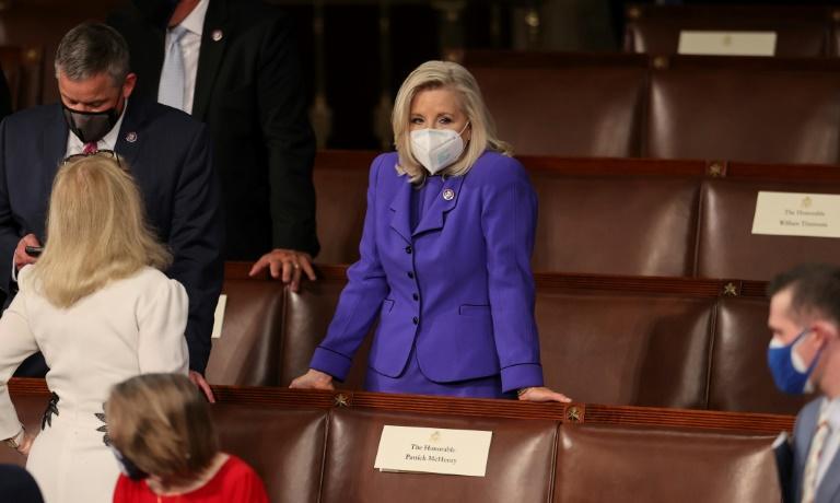 L'élue républicaine à la Chambre des représentants Liz Cheney lors du discours au Congrès de Joe Biden, au Capitole à Washington, le 28 avril 2021