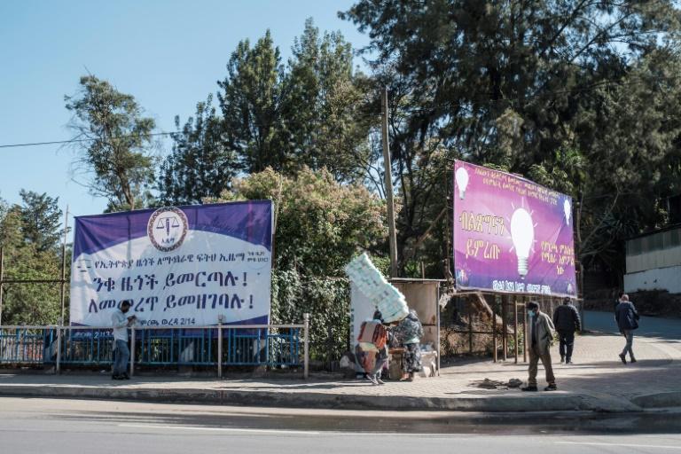 Des affiches électorales du parti d'opposition Ezema (G) et du parti Prospérité du Premier ministre éthiopien Abiy Ahmed (D) à Addis Abeba le 20 avril 2021