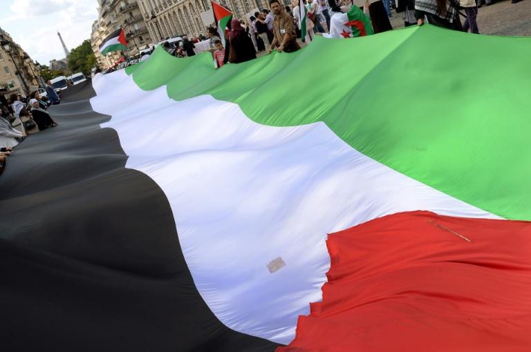 Un énorme drapeau palestinien est déployé devant le Panthéon à Paris lors d'une manifestation de soutien au peuple palestinien le 16 août 2014