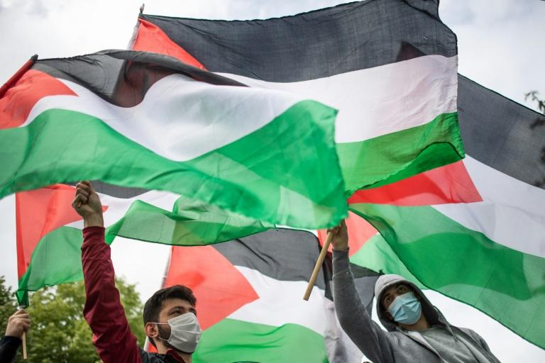Des manifestants pro-palestiniens dans les rues de Nantes (Ouest de la France), le 15 mai 2021.