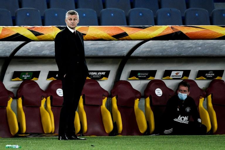 L'entraîneur norvégien de Manchester United, Ole Gunnar Solskjaer, lors de la demi-finale retour de la Ligue Europa contre l'AS Rome, à Rome, le 6 mai 2021