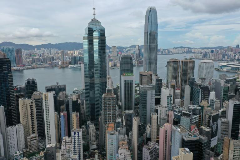 Vue aérienne sur les gratte-ciel de Hong Kong le 25 mai 2021