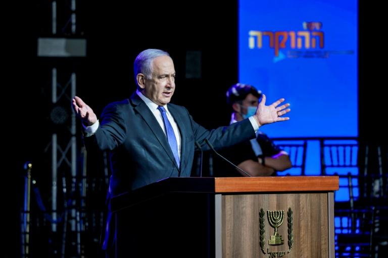 Le Premier ministre israélien Benjamin Netanyahu s'exprime lors d'une cérémonie liée à la lutte contre le coronavirus à Jérusalem, le 6 juin 2021