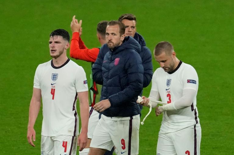 La déception des Anglais, dont Harry Kane (c), après le nul concédé face aux Ecossais, lors de l'Euro, le 18 juin 2021 à Wembley