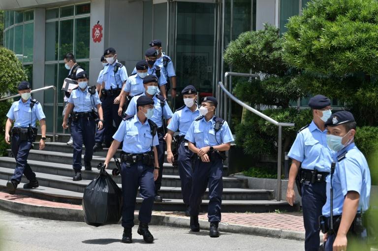 Raid de la police dans les bureaux du journal pro-démocratie Apple Daily, le 17 juin 2021 à Hong Kong