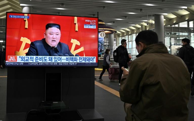 Intervention du dirigeant nord-coréen Kim Jong Un, retransmise à Séoul (Corée du Sud) le 26 mars 2021