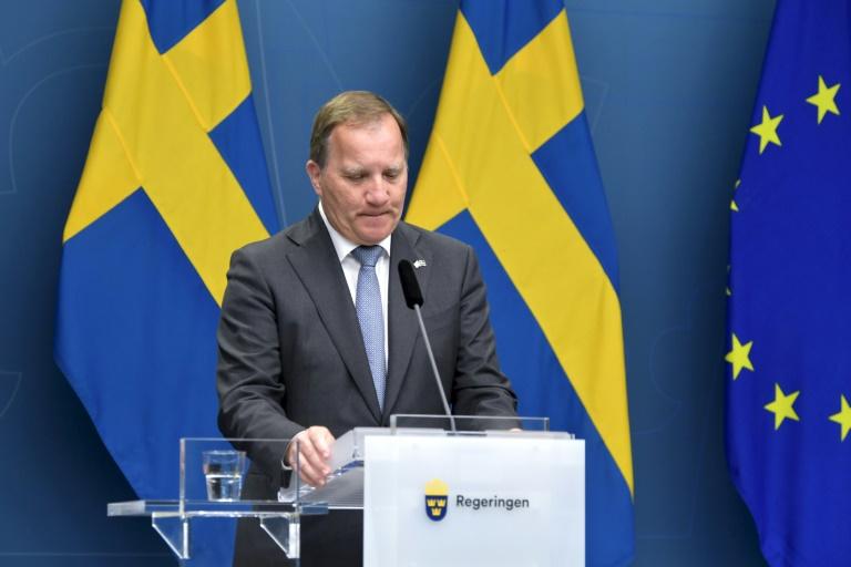Le Premier ministre suédois Stefen Löfven, lors d'une conférence de presse après un vote de défiance au Parlement, le 21 juin 2021 à Stockholm