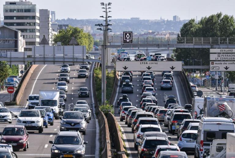 Ralentissement sur l'autoroute A7 près de Lyon le 31 juillet 2021