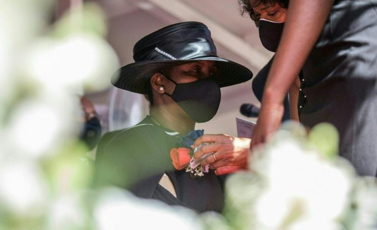 Martine Moïse lors des funérailles de son mari assassiné, le président d'Haïti Jovenel Moïse, le 23 juillet 2021 à Cap-Haïtien