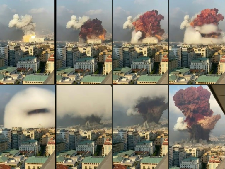 Images UGC filmées d'un bâtiment de bureaux montre l'explosion du 4 août 2020 au port Beyrouth, qui a tué plus de 200 personnes, défiguré la capitale libanaise et profondément traumatisé toute une nation