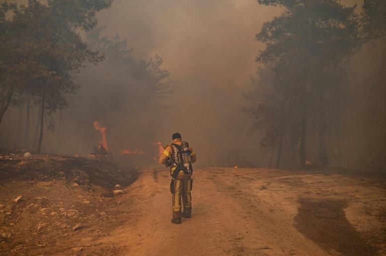 Des pompiers luttent contre un incendie de forêt le 2 août 2021 à Mugla près de Marmaris en Turquie