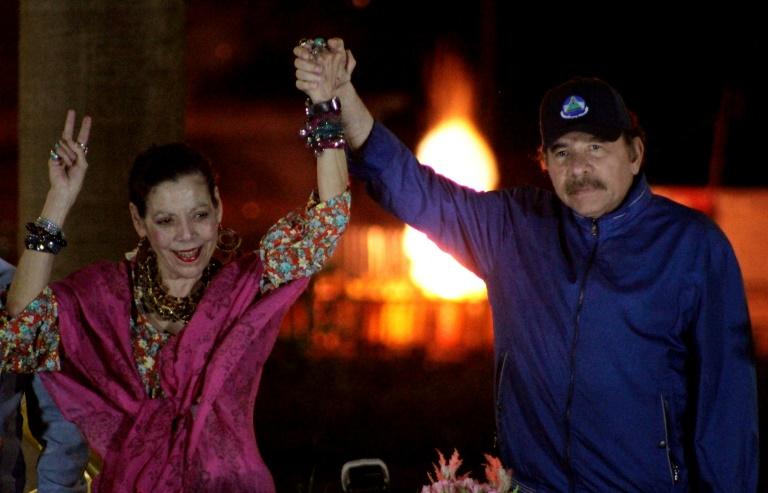 Le président du Nicaragua Daniel Ortega et son épouse, la vice-présidente Rosario Murillo, le 21 mars 2019 à Managua