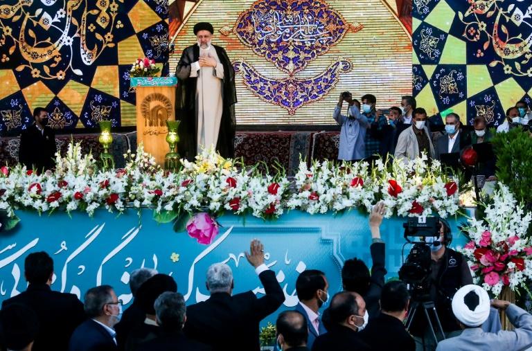 Le président élu Ebrahim Raïssi lors d'un discours à Mashhad, en Iran, le 22 juin 2021