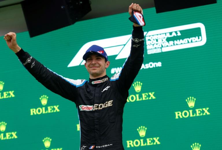 Le pilote français Esteban Ocon vainqueur du GP de Hongrie sur le Hungaroring, près de Budapest, le 1er août 2021