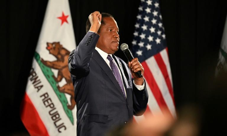 Le candidat républicain au poste de gouverneur de la Californie Larry Elder après sa défaite, le 14 septembre 2021 à Costa Mesa, en Californie