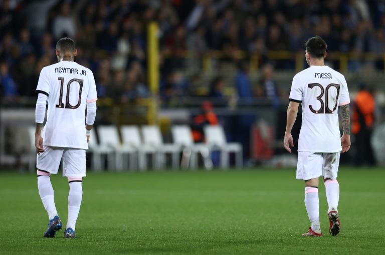 Neymar et Leo Messi à la fin du match du PSG à Bruges le 15 septembre 2021