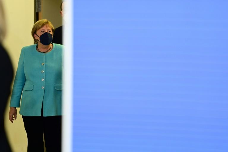 La chancelière allemande Angela Merkel au siège de l'Union conservatrice CDU, à Berlin le 26 septembre 2021