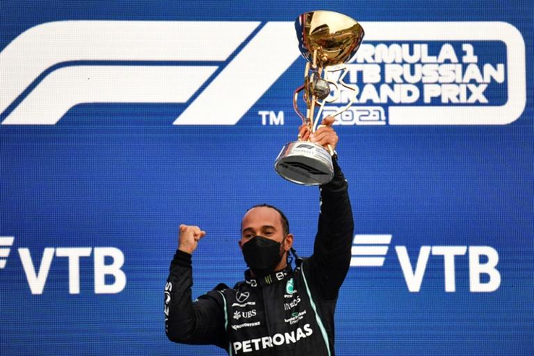 Lewis Hamilton vainqueur du GP de Russie sur l'Autodrome de Sotchi, le 26 septembre 2021