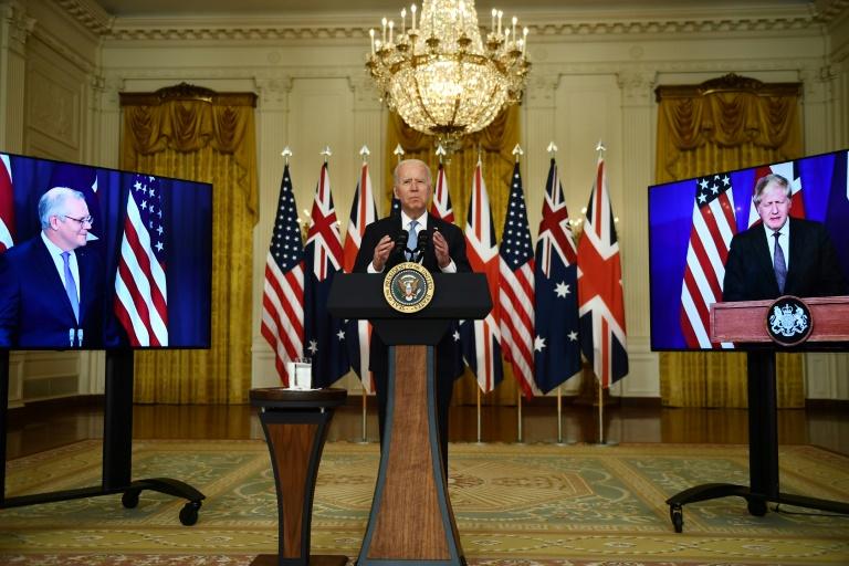 Le président des Etats-Unis Joe Biden annonce sa nouvelle alliance avec le Premier ministre britanique Boris Johnson et l'australien Scott Morrison, le 15 septembre 2001 à la Maison Blanche