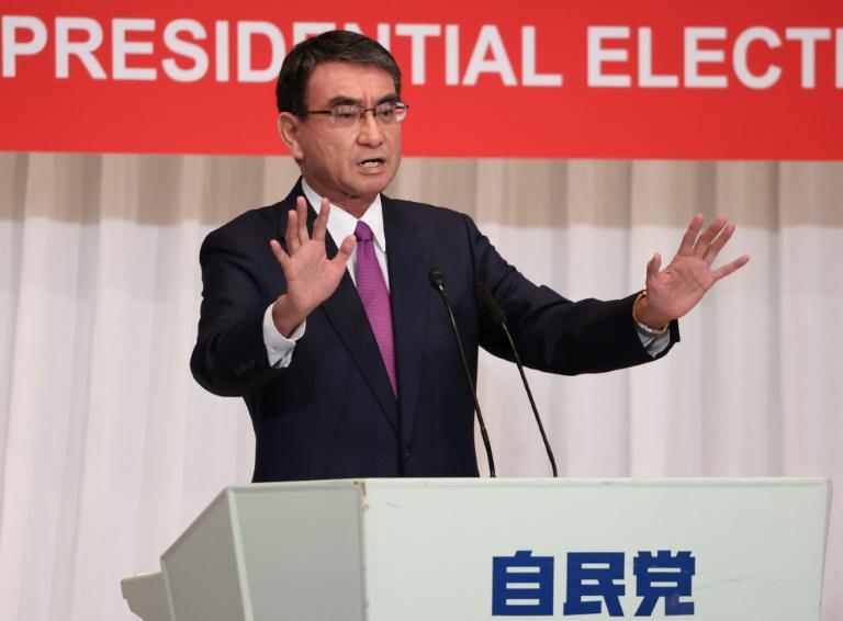 Taro Kono, ministre sortant de la Réforme administrative au Japon, prononce un discours de campagne électorale à Tokyo le 17 septembre 2021