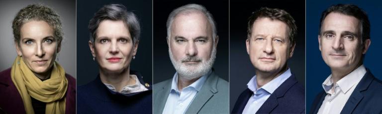 Les candidats à la primaire écologiste, dans un combo créé le 6 septembre 2021, avec de gauche à droite: Delphine Batho, Sandrine Rousseau, Jean-Marc Governatori, Yannick Jadot et Eric Piolle