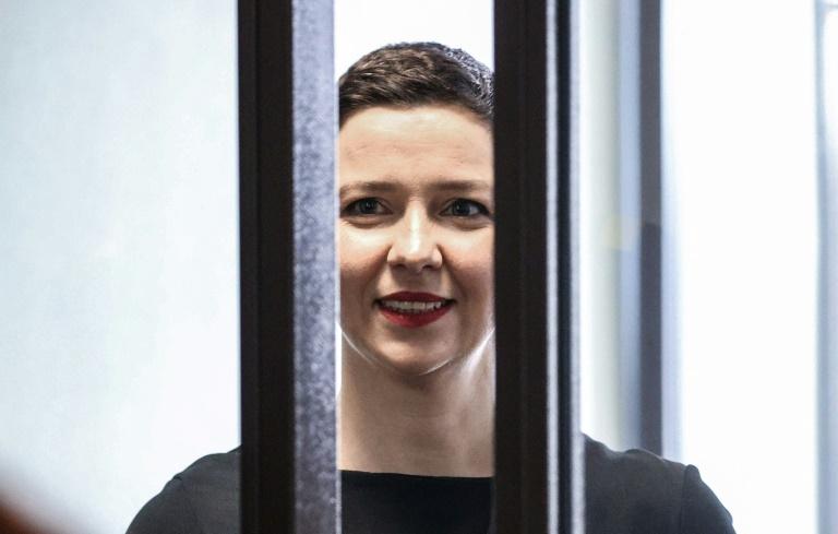 L'opposante bélarusse emprisonnée Maria Kolesnikova, à l'ouverture de sn procès à Minsk le 4 août 2021